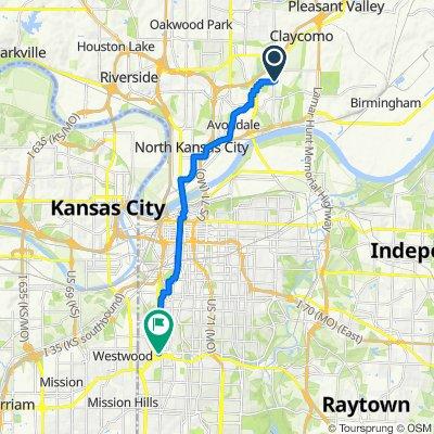 5015 NE 45th St, Kansas City to 501 Nichols Rd, Kansas City