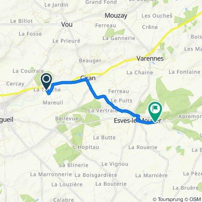 La Touche, Ligueil to D12, Esves-le-Moutier