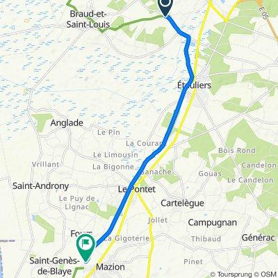 De D136e1, Braud-et-Saint-Louis à Route de Muchit, Saint-Seurin-de-Cursac