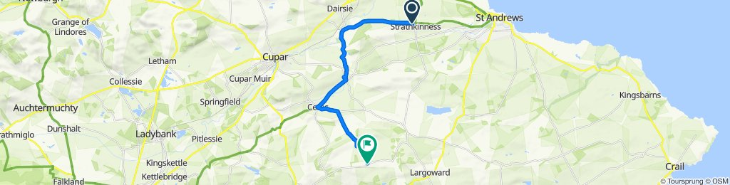 Route from 15 Bonfield Park, St Andrews