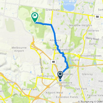 Route from 1 Gowanbrae Drive, Gowanbrae