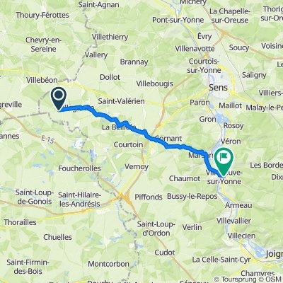 De 12 Rue du Chemin de César, Jouy à 1–19 Place Briard, Villeneuve-sur-Yonne