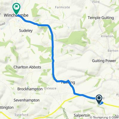 Route to The Bake House, Castle Street, Cheltenham