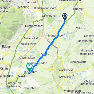 Chillige Route nach Tattendorf (Wien - Himberg fehlt), 17 kg Treckinggepäck on Board
