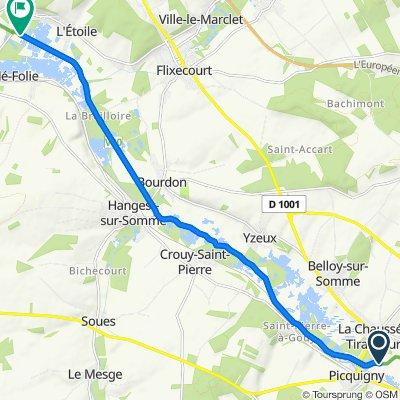 De Chemin du Halage, Picquigny à 11–27 Rue Jean Fricot, L'Etoile