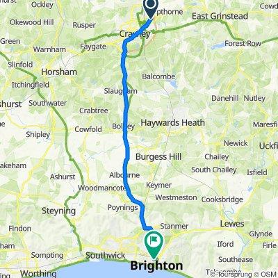 Da 36 Mannings Close, Crawley a Brighton Railway Station, Queen's Road, Brighton