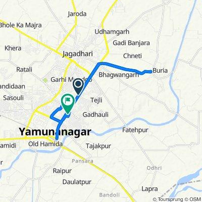 Route from 108, Jagadhari Yamuna Nagar Road, Shankar Nagar, Yamunanagar