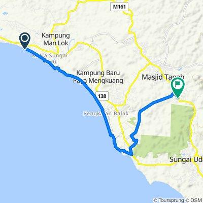 Route to Jalan Kampung Tengah Masjid Tanah-Kampung Baharu Sungai Udang, Sungei Baru Ulu