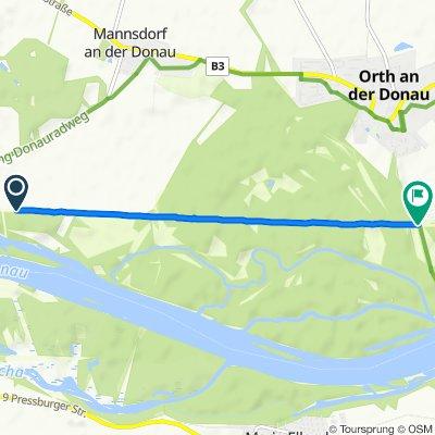 Route nach Uferstraße, Orth an der Donau