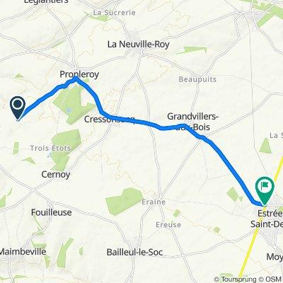 Itinéraire vers Rue du Jeu d'Arc, Estrées-Saint-Denis