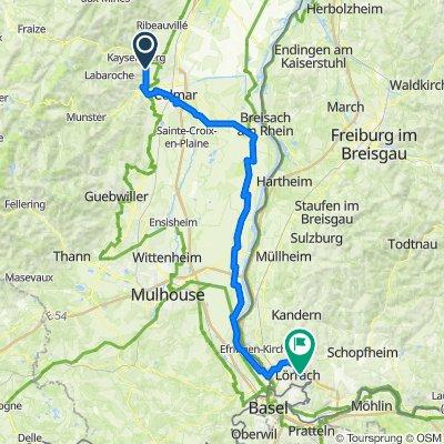 Route de Colmar 11 B, Ammerschwihr to Hangstraße 19, Lörrach