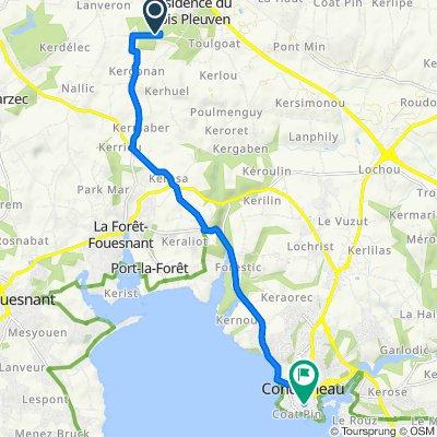 De Route de Saint-Yvy, Saint-Yvi à 2 Rue Amiral Courbet, Concarneau