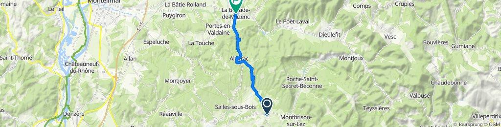 1 Avenue Berthe et Louis Gras, Taulignan naar 20 Avenue Jean Jaurès, La Bégude-de-Mazenc