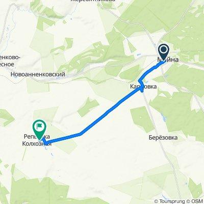 От Ленинская улица 17, Майна до Unnamed Road, Репьевка Колхозная