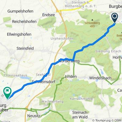 An der Steige 10, Burgbernheim nach Schweinsdorfer Straße 72, Rothenburg ob der Tauber