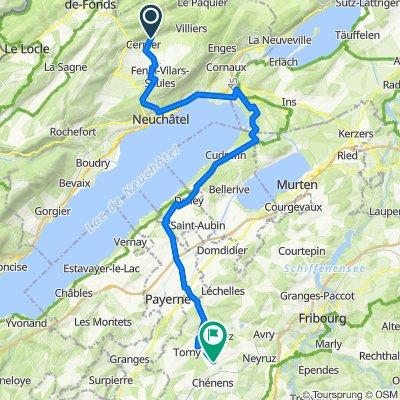 De Rue de la Quarette 2–14, Val-de-Ruz à Route de Corserey 12, Lentigny