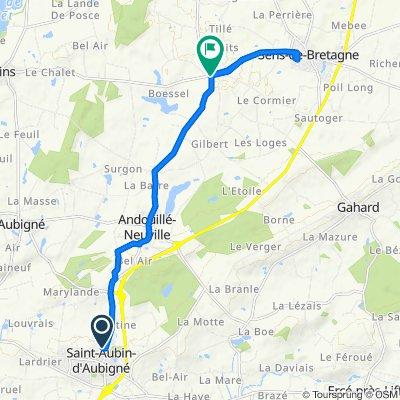 De 6 Allée de la Croix Moussard, Saint-Aubin-d'Aubigné à 42 La Belle Étoile, Sens-de-Bretagne