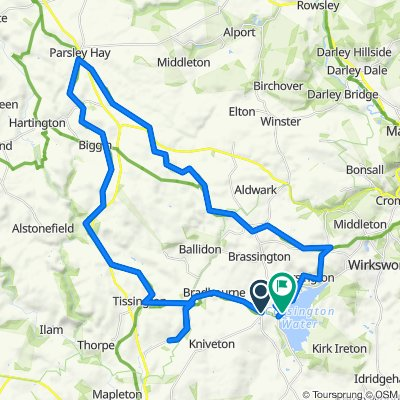 Route from Brackendale Lane, Ashbourne