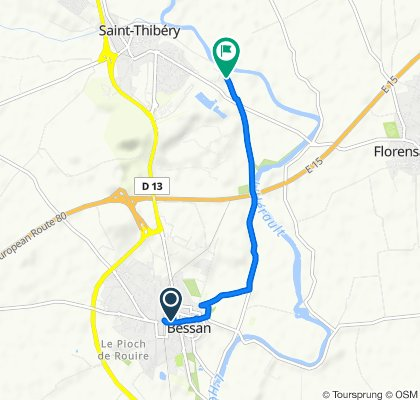 3bis Rue du Commerce, Bessan nach Le Pont Romain, St.-Thibéry