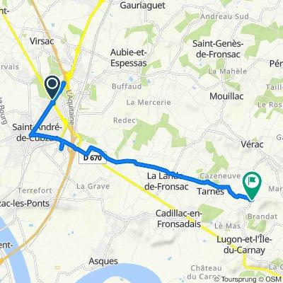 Itinéraire vers Route de Thouil, Villegouge