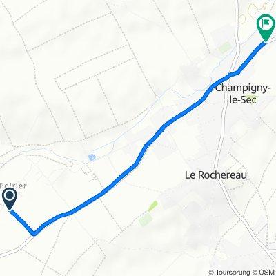 De 1–3 Chemin des Clochettes, Le Rochereau à 40 Route de Lencloître, Champigny-le-Sec