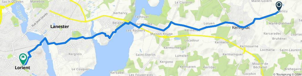 De Rue de l'Étang, Kervignac à Boulevard du Général Philippe Leclerc, Lorient