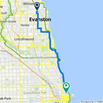 2000 Lincoln St, Evanston to 160 E Delaware Pl, Chicago