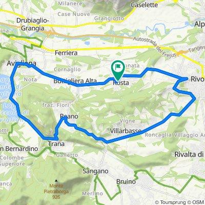 Da Via Italia 6, Rosta a Via la Valle 11, Rosta