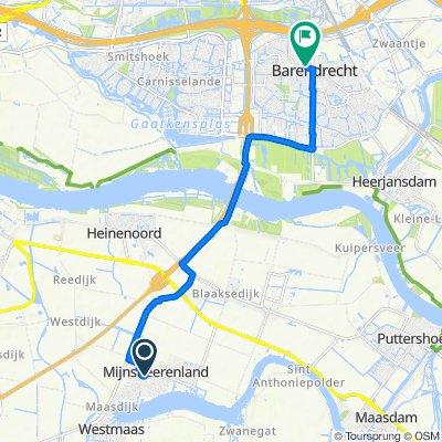 Molenvlietlaan 33, Mijnsheerenland naar Dorpsstraat 129, Barendrecht