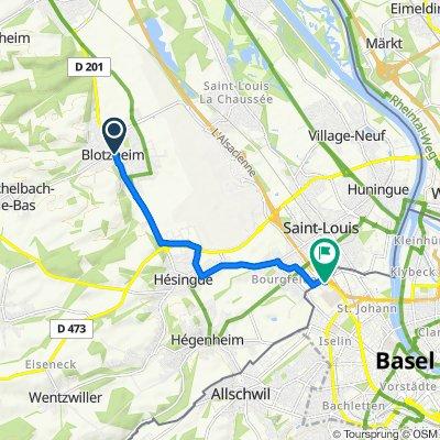 De 2 Rue du 6eme Ric, Blotzheim à Flughafenstrasse 225, Bâle
