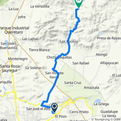 Ruta desde Villar del Aguila, Santiago de Querétaro