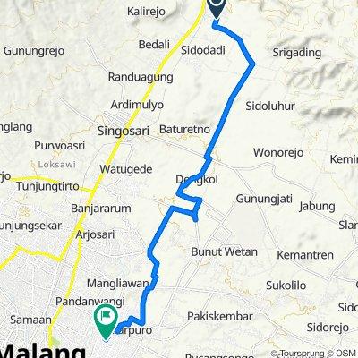 Jalan Sumber Wuni 24, Kecamatan Lawang to Jalan Danau Matana I 22, Kecamatan Kedungkandang