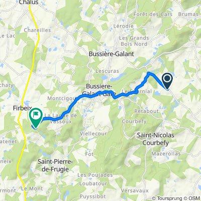 Route von 2 Impasse de la Jaurie, Ladignac-le-Long