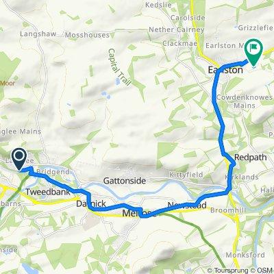 Route from 36 Woodstock Avenue, Galashiels