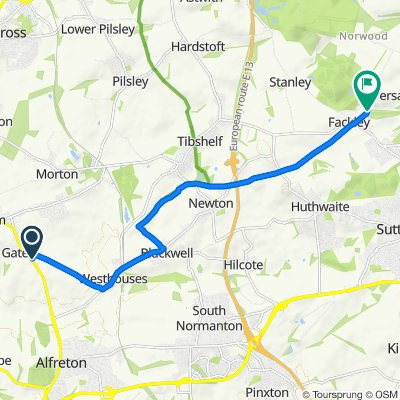 Route from 11 Park Close, Alfreton