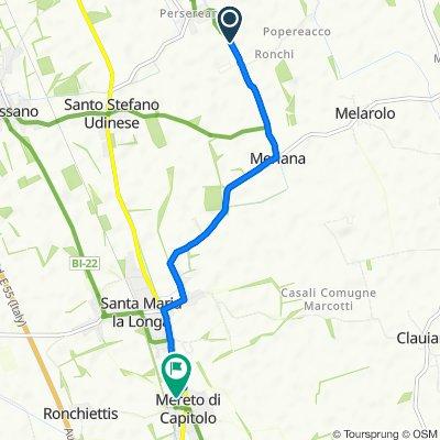 Via Camillo Benso Conte di Cavour, Pavia di Udine nach Via San Pietro 6, Santa Maria la Longa