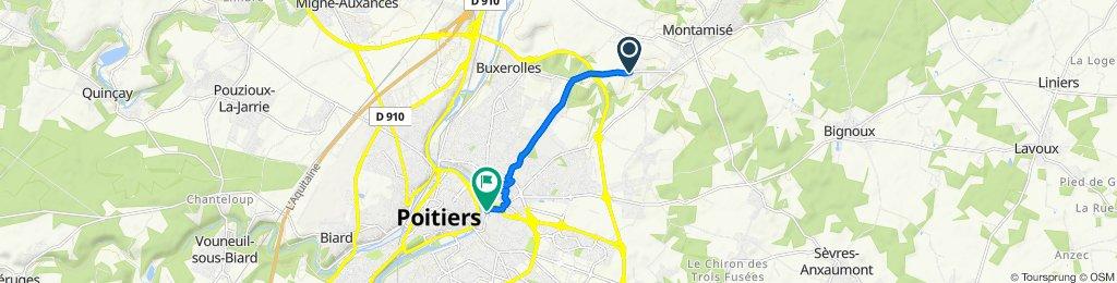De 36 Rue du Petit Nieul, Montamisé à 1–35 Boulevard de la Digue, Poitiers