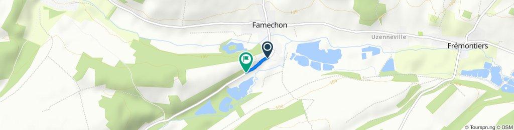 Route from Rue de Bergicourt 21, Famechon