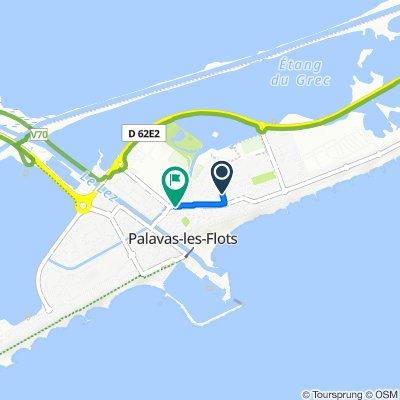 De 3 Rue du Labech, Palavas-les-Flots à 1–13 Avenue de l'Étang du Grec, Palavas-les-Flots