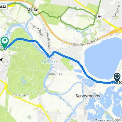 Stanwell Road, Slough to 1–7 Datchet Road, Windsor