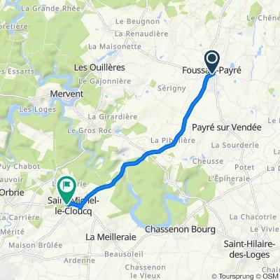 5 Rue Mélusine, Foussais-Payré naar 114 Rue du Clos, Saint-Michel-le-Cloucq