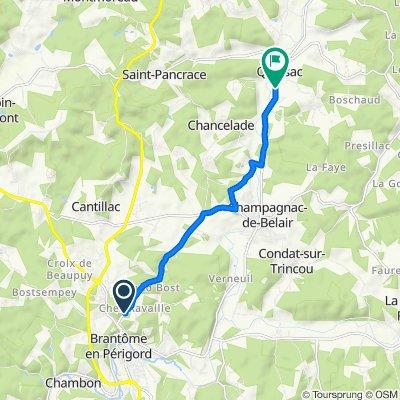 Route de Chez Ravailles, Brantôme to 133D La Fontaine de Faurellière, Quinsac