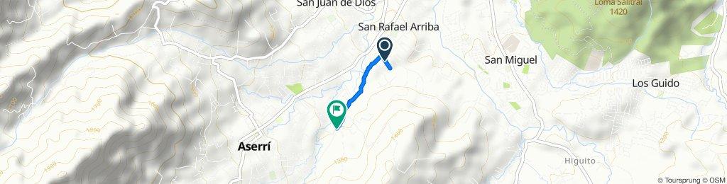 De Calle Lajas, San Rafael Arriba de Desamparados a Calle Pedro Corrales, Aserri