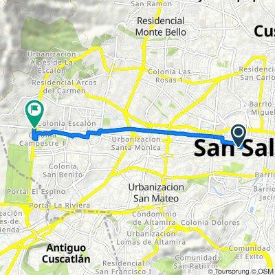 De Calle Arce 827, San Salvador a Avenida Jerusalen 7, San Salvador