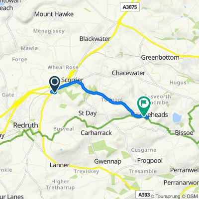 Route from 8 Briggan Close, Redruth