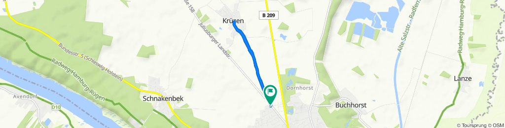 Manomer Weg 1B, Lauenburg/Elbe nach Juliusburger Landstraße, Lauenburg/Elbe