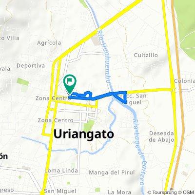 De Calle Juan Aldama 57, Uriangato a Calle Allende 32A, Uriangato