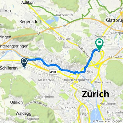 Flöhrebenstrasse 1, Schlieren nach Schaffhauserstrasse 347, Zürich