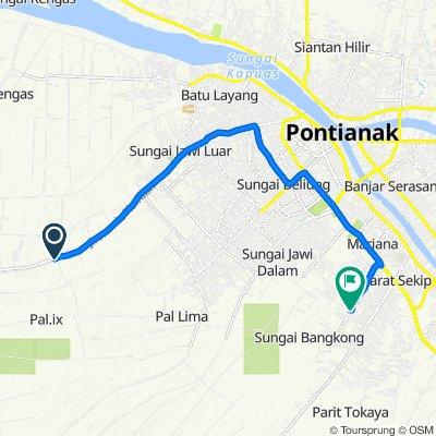 Jalan Raya Sungai Kakap 33, Kecamatan Sungai Kakap to Komplek Prestigio b1, Kecamatan Pontianak Tenggara