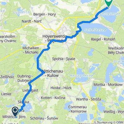 Milstrich Heideweg 5, Oßling nach Kirchstraße 17, Spreetal